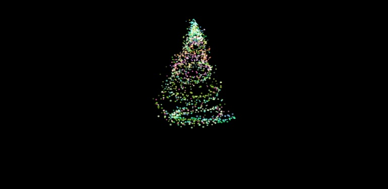 Футаж(footage) appearing colored abstract christmas tree. Рождественнская ель
